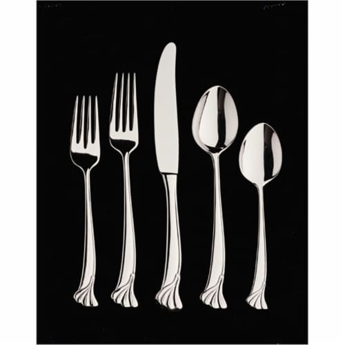 Leaf 5 Piece Place Setting - 18-10 Stainless - Mirror Finish Perspective: front