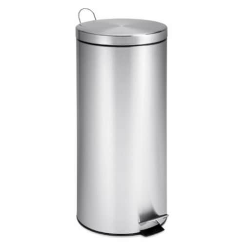 International  30L Round Stainless Steel Can with Bucket Perspective: front