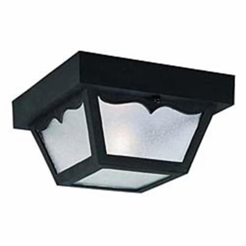 Black Square One-Light Ceiling Porch Light Perspective: front