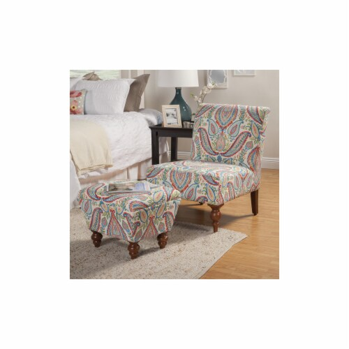 Armless Accent Chair And Ottoman Set - Blue  Green & Red Perspective: front