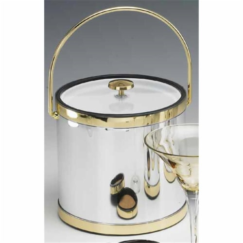 Mylar Brushed Chrome and Brass 3 Qt Ice Bucket with Bale Handle  Lucite Cover Perspective: front