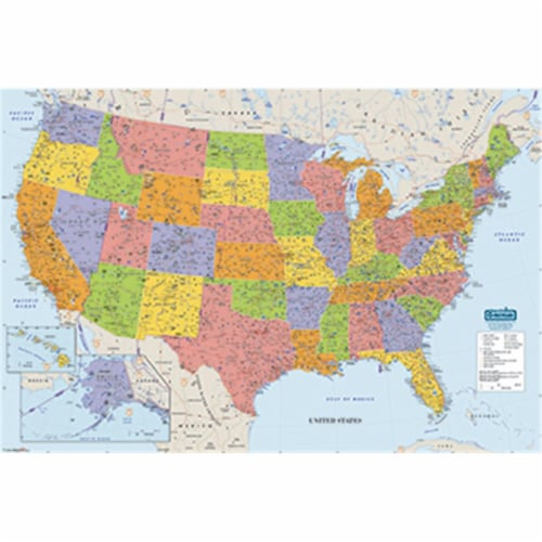 Us & World Maps Laminated Us 50X33 Perspective: front