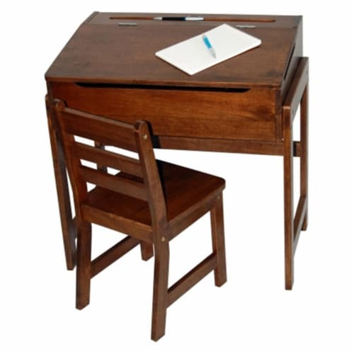 Slanted Top Desk and Chair in Walnut Perspective: front