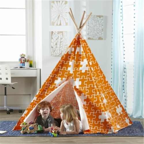 Childrens Puzzle Teepee Play Tent, Orange Perspective: front