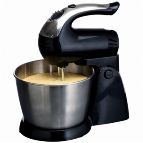 5-Speed 200 Watt Stand Mixer Stainless Steel Bowl, Black Perspective: front