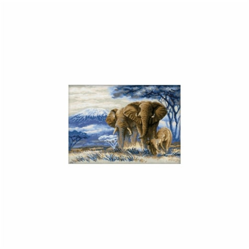 Elephants In The Savannah Counted Cross Stitch Kit-15.75''X11.75'' 14 Count Perspective: front
