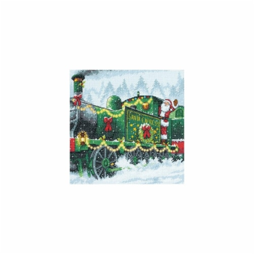 Santa Express Counted Cross Stitch Kit-10 in. x 10 in. 14 Count Perspective: front