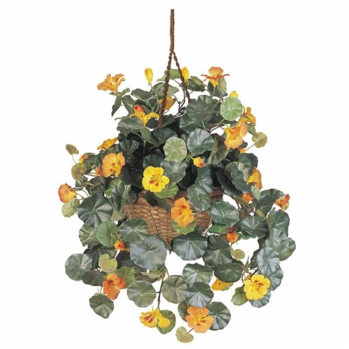 Nasturtium Silk Hanging Basket Perspective: front