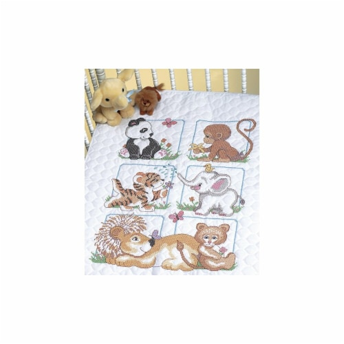 Animal Babies Quilt Stamped Cross Stitch Kit-34''X43'' Perspective: front