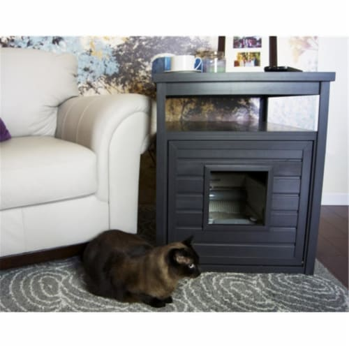 EHLB002-03 Habitat N Home Espresso Jumbo Litter Loo End Table - Russet Perspective: front
