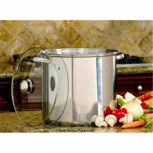 Steel Stockpot 16 QT Glass Lid Perspective: front