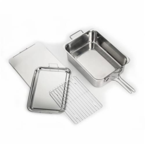 Stainless Steel Stovetop Smoker, Silver Perspective: front