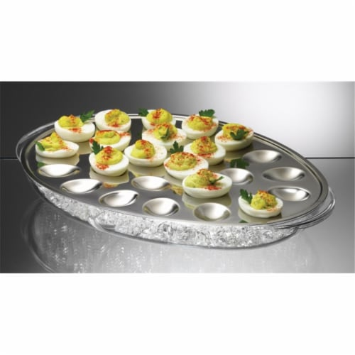 Iced Eggs Holds 24 Deviled Egg Halves - Perspective: front
