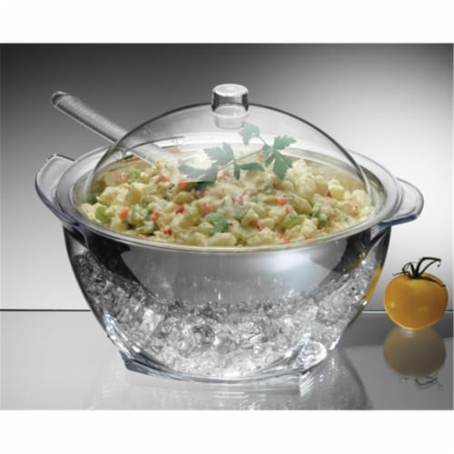 Iced Salad with Acrylic Dome Lid Salad Servers Perspective: front