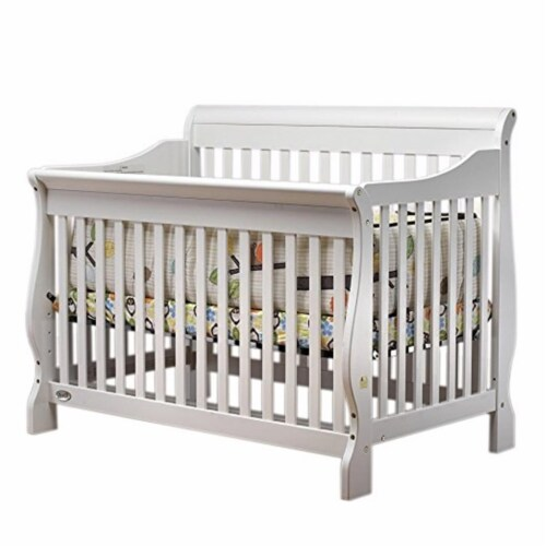 Sleigh Crib, White Perspective: front