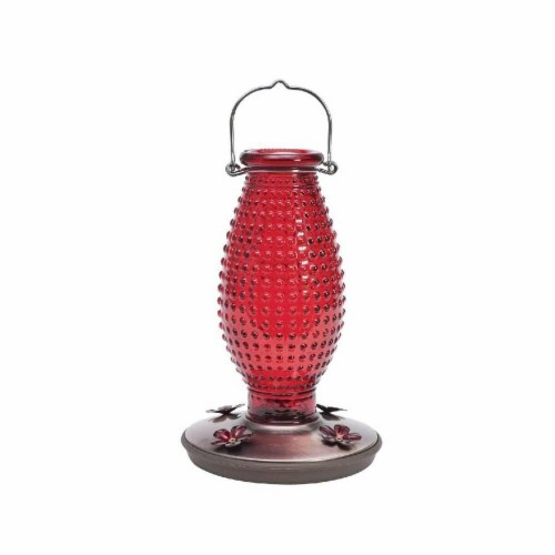 Red Hobnail Vintage Glass Hummingbird Feeder Perspective: front