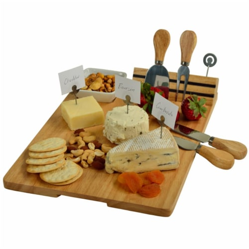 Windsor Hardwood Cheese Board with 4 Tools, Ceramic Bowl & Cheese Markers Perspective: front