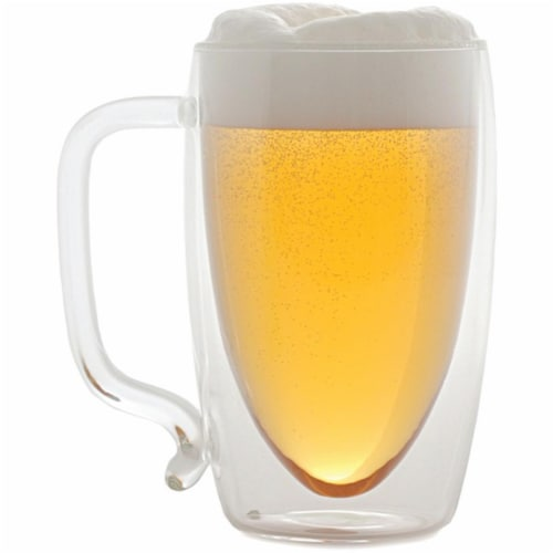 17 oz. Double-Wall Glass Beer Mug Perspective: front