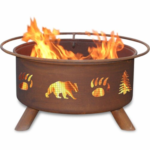 Bear & Trees Fire Pit Perspective: front