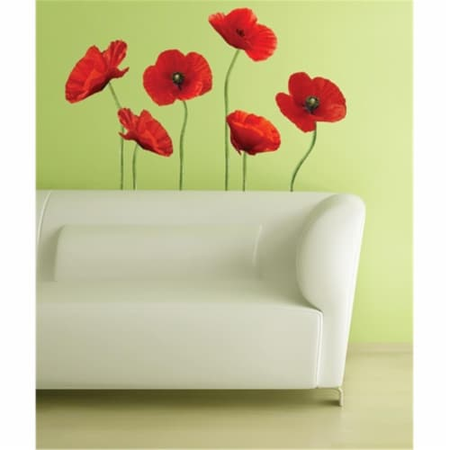 Poppies at Play Peel and Stick Giant Wall Decals Perspective: front