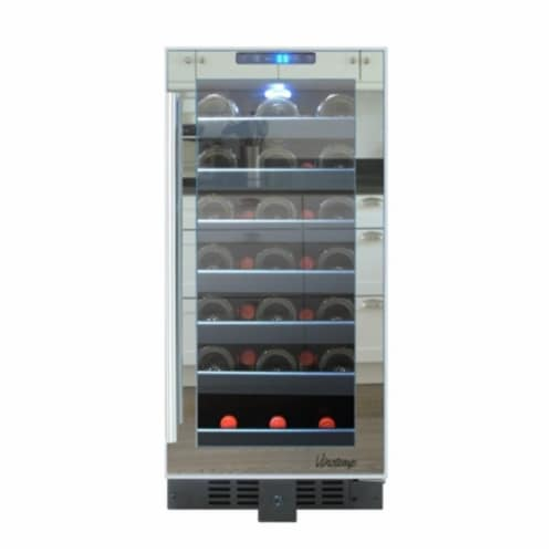 33-Bottle Mirrored Touch Screen Wine Cooler Perspective: front