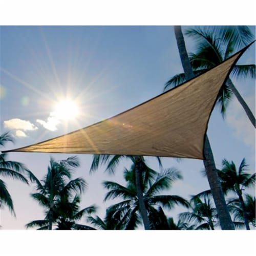 16 ft. - 4 9 m Triangle Shade Sail - Sand 160 gsm Perspective: front
