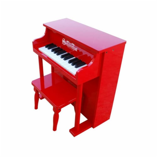 Toy Piano  25 key Carolina Red Traditional Spinet with Bench Perspective: front