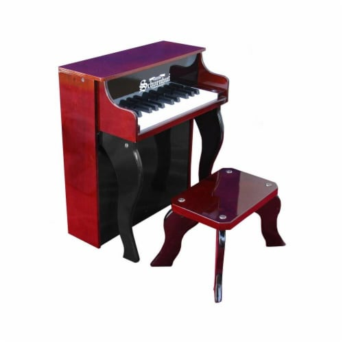 Toy Piano  25 key Mahogany & Black Elite Spinet with Bench Perspective: front