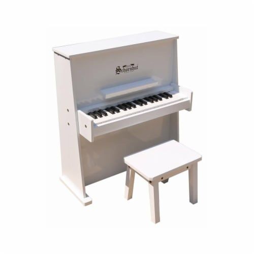 White 39 Key Day Care Durable Upright Piano Perspective: front
