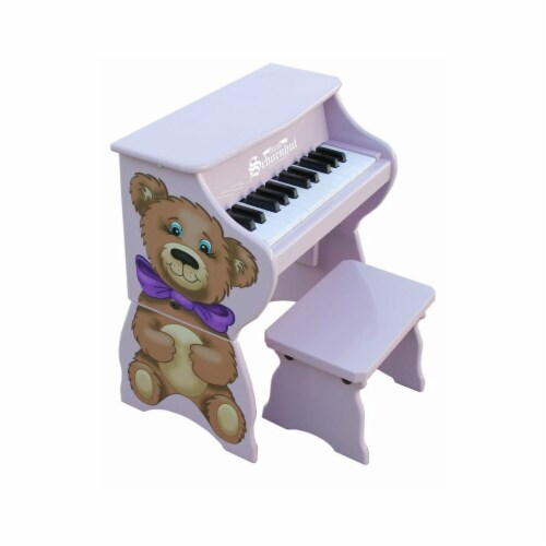 Lavender 25 Key Teddy Bear Piano with Bench Perspective: front