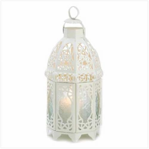White Lattice Lantern Perspective: front