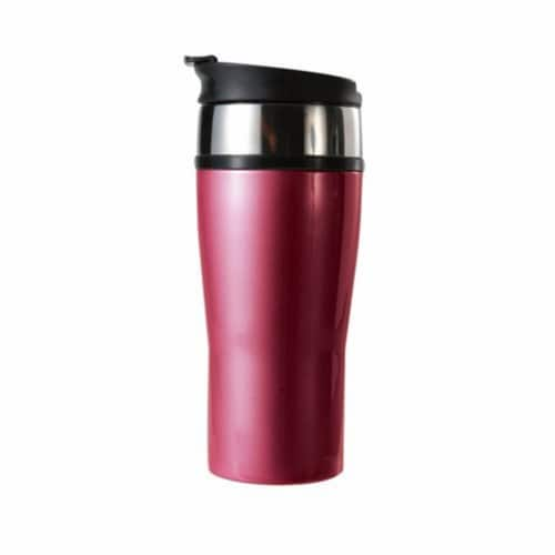 16 oz. Color Signature Insulated Vacuum Tumbler - Magenta Red Perspective: front