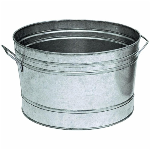 10 in. Galvanized Round Tub Planter Perspective: front