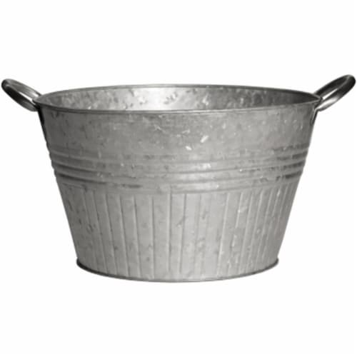 16 in. Galvanized Round Tub Planter Perspective: front
