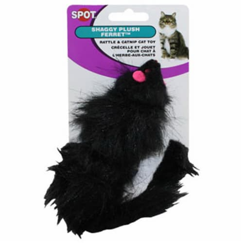 2906 Shaggy Plush Ferret With Rattle & Catnip Cat Toy Perspective: front