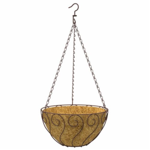 87840 14 in. Rust Aztec Style Round Hanging Basket Perspective: front