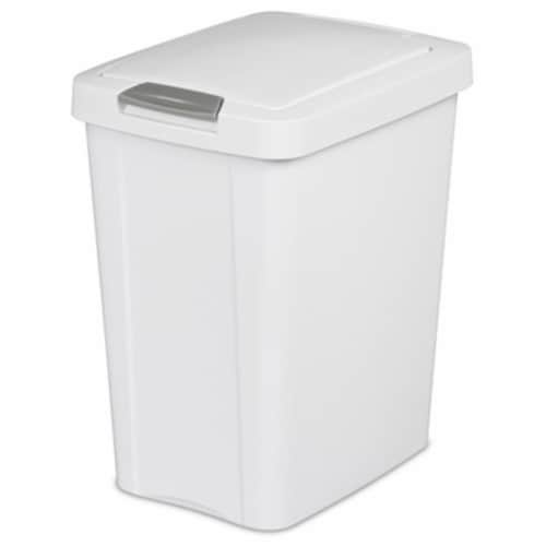28 Ltr. Touch Top Wastebasket Can, White Perspective: front