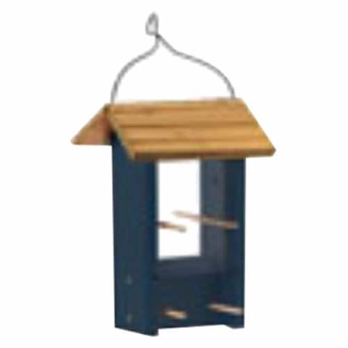 Wood Finch Feeder, Blue Perspective: front