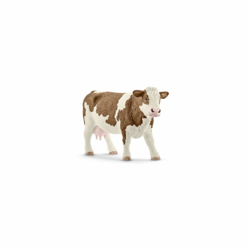 Simmental Cow Toy Figure - Brown & White Perspective: front