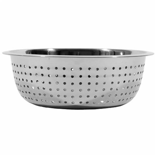15 in. Stainless Steel Large Hole Chinese Style Colander Perspective: front