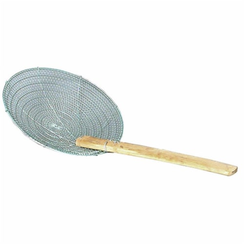 8 in. Bamboo Handled Stainless Skimmer Perspective: front
