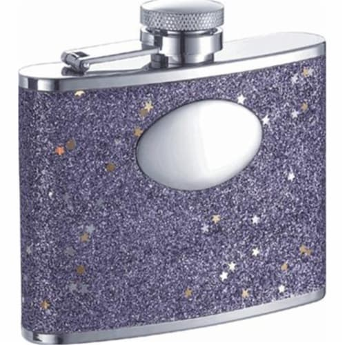 Comet Purple Glitter Stainless Steel 4oz Hip Flask Perspective: front