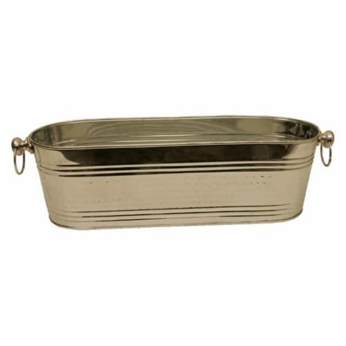 21 in. Polished Silver Beverage Oval Bucket Perspective: front