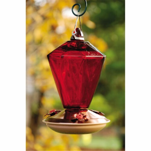 Brushed Copper Diamond Glass Hummingbird Feeder Perspective: front