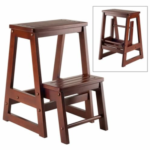 Folding Step Stool - Walnut Solid - Composite Wood Perspective: front