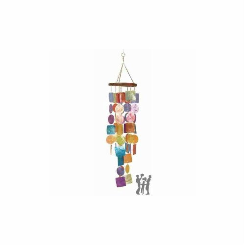 40302 Wood Capiz Wind Chime Delivers Coastal Decor Feel Perspective: front