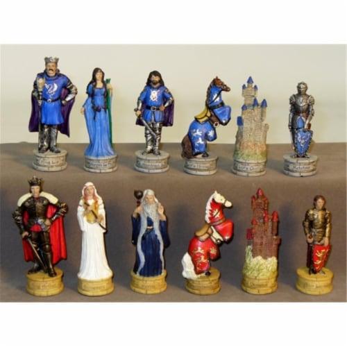 King Arthur Chessmen - Painted Resin Chessmen Perspective: front
