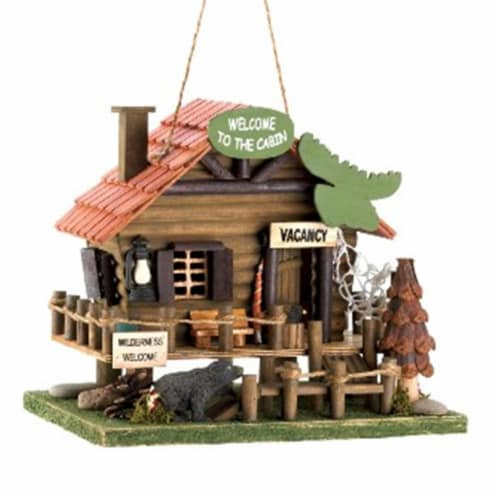 Woodland Cabin Birdhouse Perspective: front