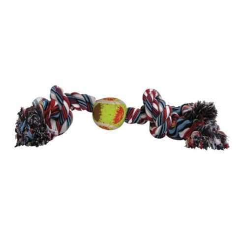 03885 Rope with Tennis Ball Dog Toy Perspective: front