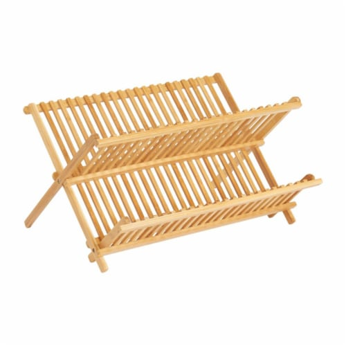 16.5 x 13 in. Dish Drying Rack Bamboo, Brown Perspective: front